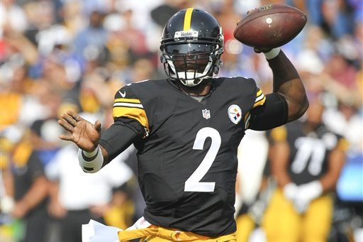 Pittsburgh Steelers quarterback Michael Vick (2) passes against the Buffalo Bills during the first half of a preseason NFL football game on Saturday, Aug. 29, 2015, in Orchard Park, N.Y. (AP Photo/Bill Wippert)