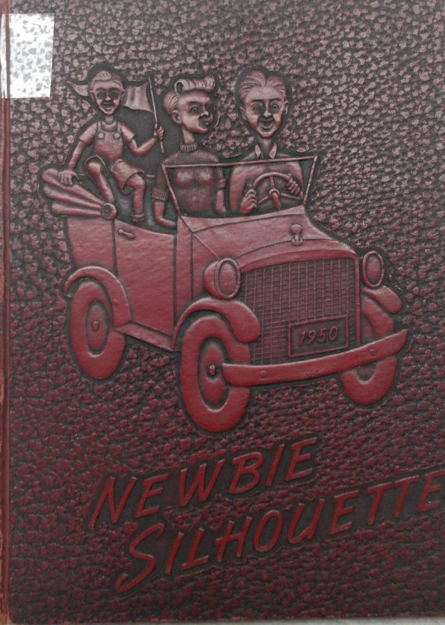 1950 Embossed Yearbook Cover; Notice the license plate