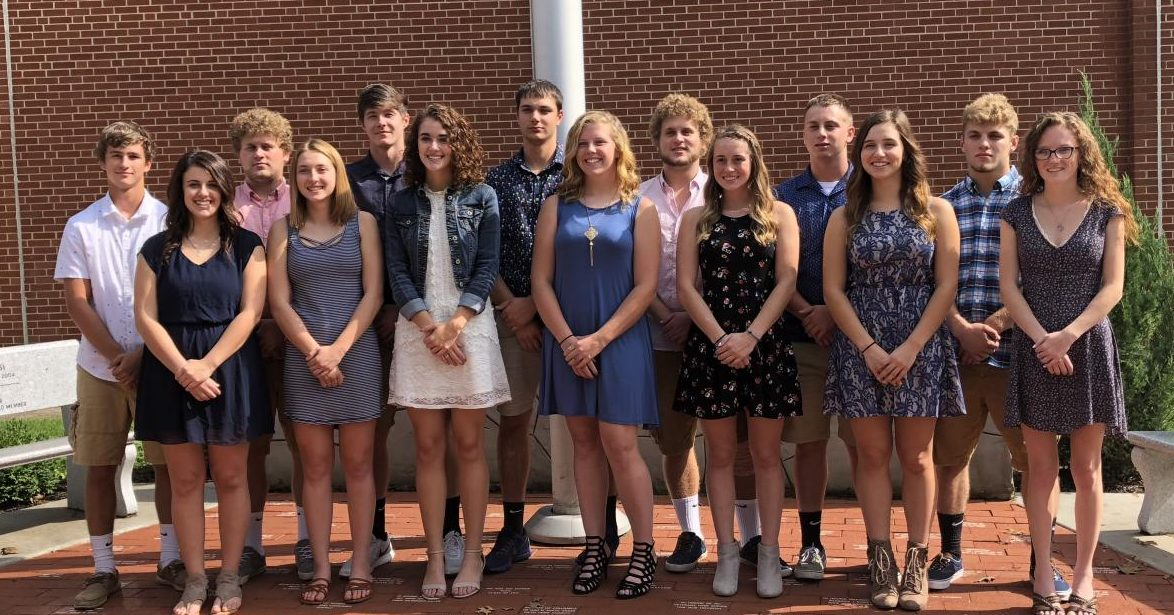 FRONT: Adriana Shilling, Carissa Rearick, Lizzy Robinson, Molly Nolf, Hope Spence, Elizabeth Hook, Paiton Rizzo; BACK:  Hunter Martz, Hunter Wiles, Keaton Kahle, Tanner Kerle, Chase Wiles, Blaney Brooks, Caleb Snyder